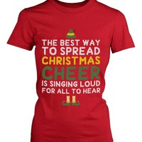 Women's Red Cotton T-Shirt - Best Way to Spread Christmas Cheer Graphic Tee
