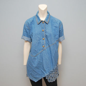 Vintage Tunic Size 8 Denim Shirt Short Sleeve Top Woven Detail Chambray Shirt 1990's Shirt 1980's Shirt Retro Blouse Gold Buttons Bohemian
