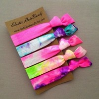 The Cotton Candy Hair Tie Ponytail Holder Collection by Elastic Hair Bandz