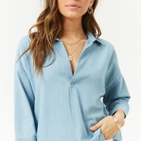 Split-Neck Chambray Top