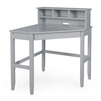 Finley Home Gray Corner Laptop Writing Desk with Optional Reversible Hutch | Hayneedle