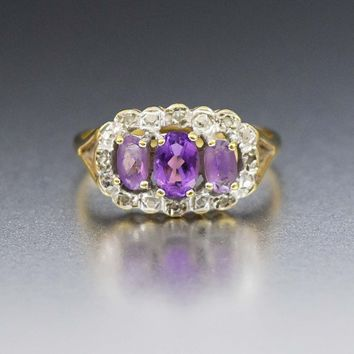 Gold Diamond and Amethyst Vintage Gemstone Engagement Ring