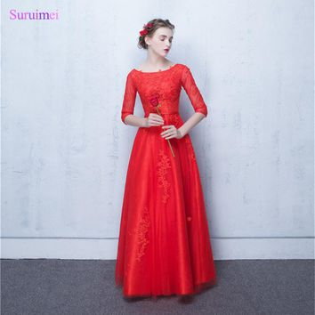Long Bridesmaid Dresses with Sleeves O Neck A Line Floor Length High Quality Tulle Applique Corset Orange Red Brides Maid Dress