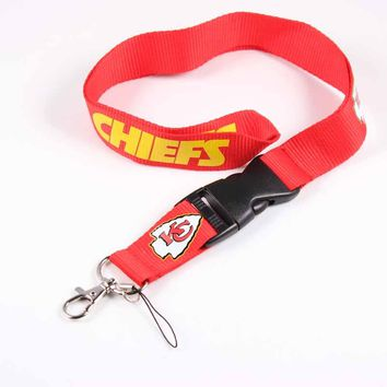 American Football Fan Gift 55cm Kansas City Chiefs Team Logo Tags Lanyard Neck Strap for ID Pass Card Phones Camera Holder