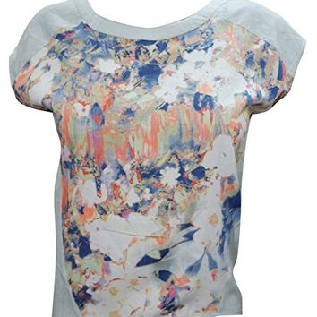 Renata Womens Sexy Top Short Sleeves Blossom Print Casual Summer Holiday Blouse