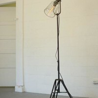 Floor Lamp With Glass Shade & Metal Stand