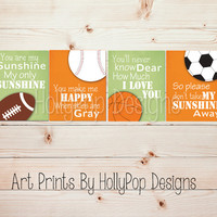 Baby Boy Nursery Art You are My Sunshine Boy Nursery Decor Orange Green Toddler Boy Bedroom Wall Art Sports Baseball Nursery Prints #1297