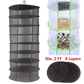 Mesh Collapsible Hanging Net Black Drying Rack Wardrobe Clothes Basket Laundry Storage Bag Herb Bud Drying Homeware 2FT 8 Layers