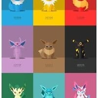 Pokémon Conquest Gale of Darkness Eevee evolutions art print movie poster