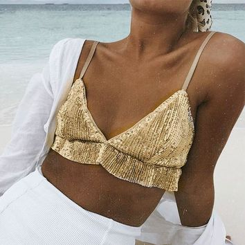 Spaghetti Strap Party Short Crop Top Sequin Bra Shirt Beach Sexy Camisole Tops Cami Women Casual Club Shirts
