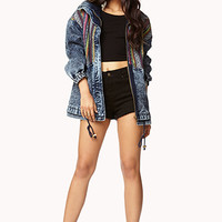 Acid Wash Southwestern Denim Jacket
