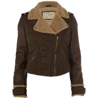 brown leather aviator jacket - coats / jackets - sale - women - River Island