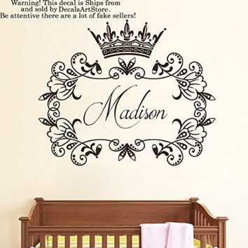 Wall Decals Custom Personalized Name Princess Crown Sticker Girls Tiara Frame Room Vinyl Decal Baby Kids Nursery Children's Decor Art Mural SM185
