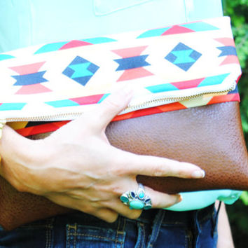 AZTEC FOLDOVER CLUTCH, navajo print bag, southwest print clutch, tribal tote, everyday casual clutch, leather folder clutch