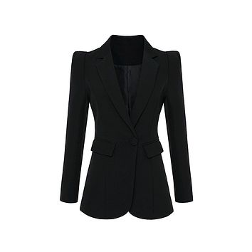 Have What You Want Long Sleeve Puff Shoulder V Neck Bandage Blazer Jacket Outerwear