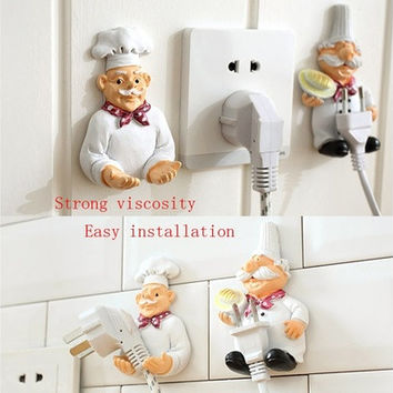 Fashion Lovely Cartoon Strong Power Socket Storage Rack Hook Creative Rack Holder Wall Decor [8833484620]