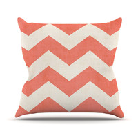"Ann Barnes ""Vintage Coral"" Orange Chevron Outdoor Throw Pillow"