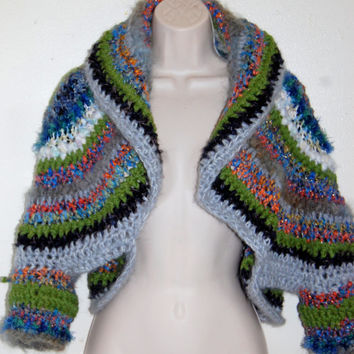 Magic Moments....Very thick and warm Freeform OOAK Fairy Over-Sized Art Yarn Multi Colored Crochet Shrug/Wrap Size M-L
