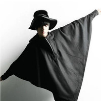 Mens gothic clothing hooded trench coat men Batwing sleeve jackets overcoat loose cloak,black,free size