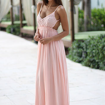 Pink Lace Maxi Dress With Open Back