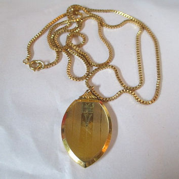 Art Deco Vintage 12K GF Two Picture Locket Has Picture 1940s P&K Signed Necklace Box Chain