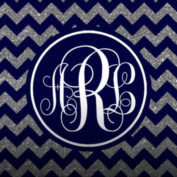 Navy and Silver Glitter Chevron iPad Monogram Lock Screen Wallpaper