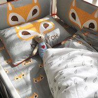 Nordic Style Fox Pattern Baby Three-piece Cotton Cartoon  Crib Bed Linen Quilt Cover Pillowcase And Bumpers