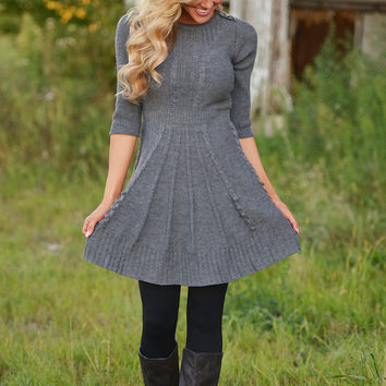 Wildest Dreams Sweater Dress - Grey