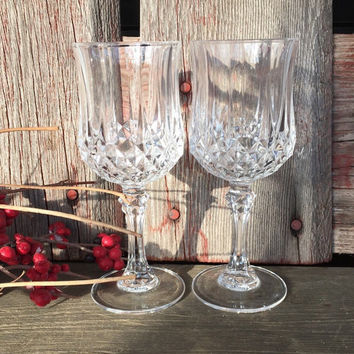 TWO vintage  lead crystal sherry goblets small wine glasses, Cristal D Arques Durand Longchamp glasses, vintage glassware, liquor cordials