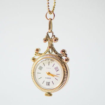 Feminine watch pendant Seagull, women's necklace watch unique, flower pattern watch pendant gold plated, rare design fashion pendant gift