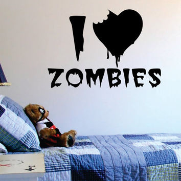 I Love Zombies Design Decal Sticker Wall Vinyl Art Home Room Decor