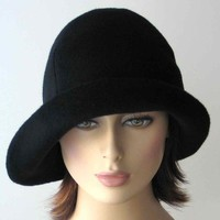 Black Wool Cloche Hat by katarinacouture on Etsy