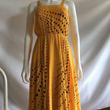 Vintage 80s Yellow Swirling Polka Dot Dresses