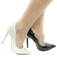 Elsa Pearl Patent By Shoe Republic, Pointy Toe Rhinestone Studded Ankle Strap Stiletto Heel Pumps