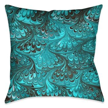 Aqua Marble Outdoor Decorative Pillow