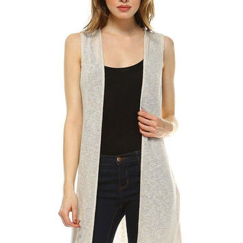 Salt Tree Women's Sleevless Open Crochet Cardigan, US Seller