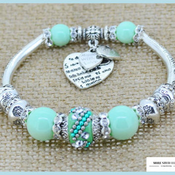 Serling Silver Love Heart Charm Bangles & Glass Beads Strand Bracelets