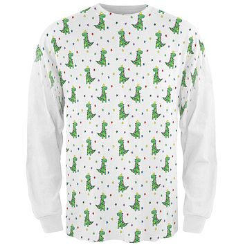 Christmas Tree Rex T-Rex Dinosaur Pattern All Over Mens Long Sleeve T Shirt