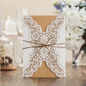 1pcs Sample Hollow Laser Cut Wedding Invitations Card Personalized Custom with Ribbon Free Envelope & Seals Party Supplies