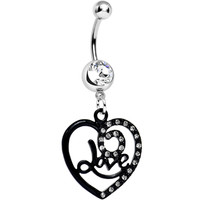 Clear Gem Always in Love Dark Heart Dangle Belly Ring | Body Candy Body Jewelry