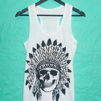 Summer Sale shirt haloween Skull Rock Tank Top  Unisex Men Women  size S M L XL tank Cotton shirt singlet sleeveless/ American apparel