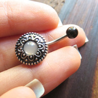 Faux Stone Decorative Medallion Tribal Flower Shield Belly Button Ring Jewelry Navel Piercing  Bar Barbell Stud
