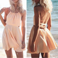 Solid Color High-Necke Fashion Beach Dress