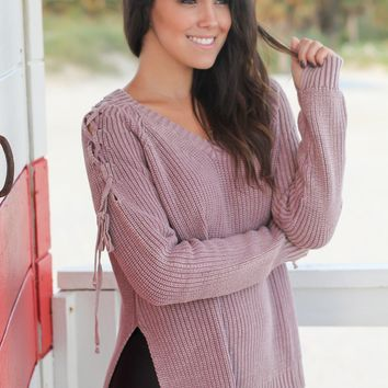 Mauve Knit Sweater with Lace Up Detail