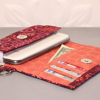 Cell Phone Wallet Wristlet for your Smart Phone / iPhone 4/5/6 / Android / Moto X / NEW STYLE TECH  / Raspberry Peach Batik