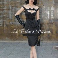 Sold Out! Check back -Le Palais Vintage - 1950's Audrey Hepburn Black Beaded Dress W/Bow Tie