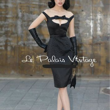 Not available! Check back -Le Palais Vintage - 1950's Audrey Hepburn Black Beaded Dress W/Bow Tie