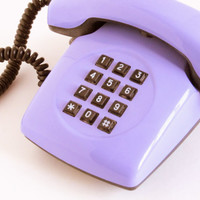 Soviet Vintage Phone, Lilac Office Telephone, Old Dial Desk Phone, Collectible, USSR, Buttons Telephone