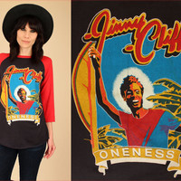 ViNtAgE 80's RARE JIMMY CLIFF Oneness TShirt Special Tour '82 Raglan 3/4 Sleeve T-Shirt HiPPiE Reggae OnE LoVe 1982 Large L