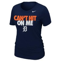 Nike Detroit Tigers Ladies Can't Hit on Me Slim Fit T-Shirt - Navy Blue